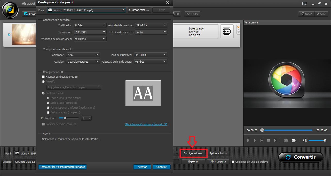 Modificar el video AMV de acuerdo con necesidades