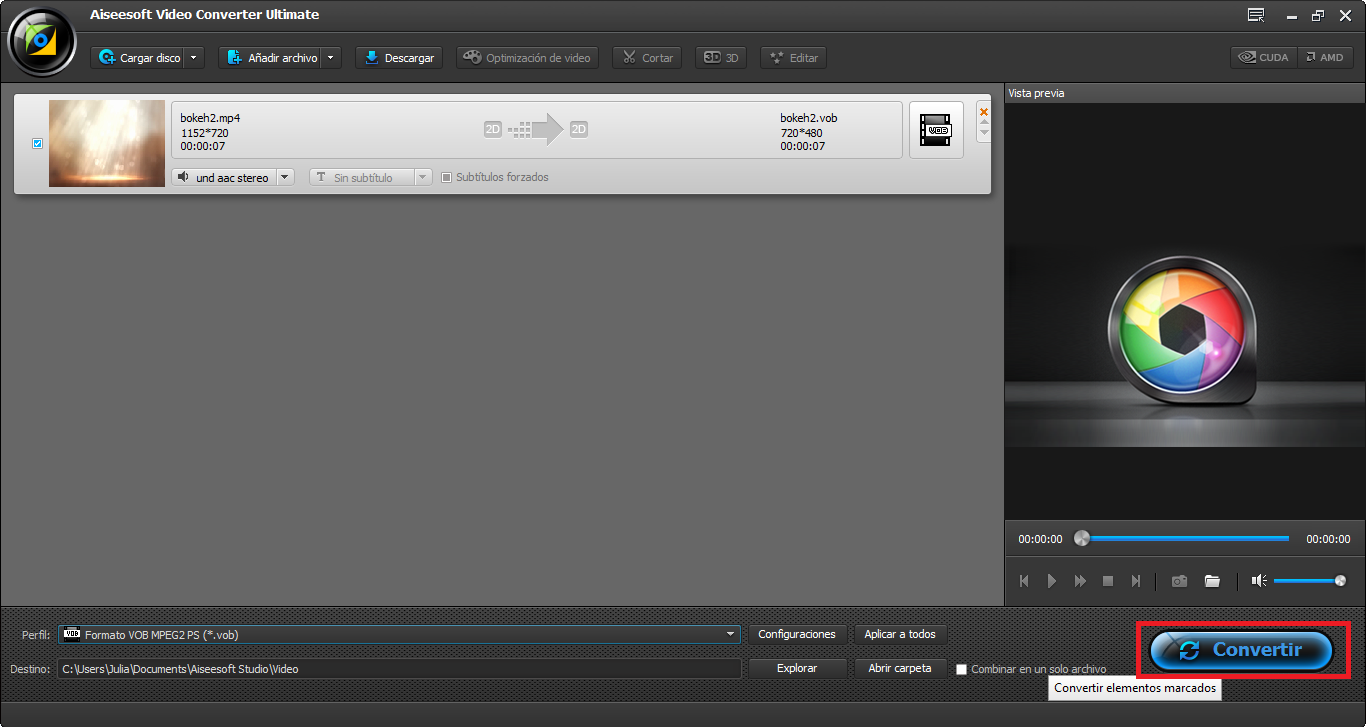 Finalizar la conversión del video MP4 a SWF