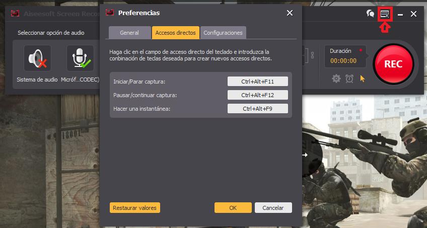 Definir atajos del teclado para grabar la pantalla del PC