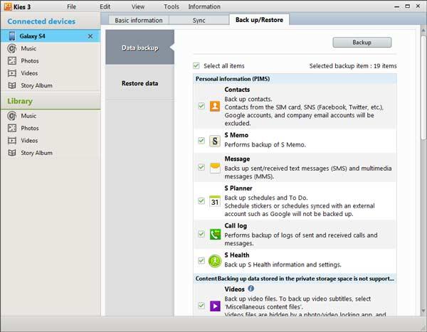 Passo 3 Backup Samsung Kies FoneCopy