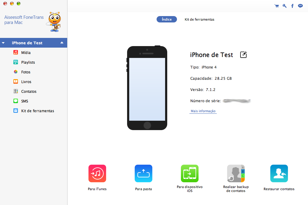 FoneTrans Mac - software transferir vídeos iPad para Mac