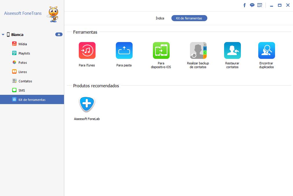 Backup iPhone em disco rígido Externo FoneTrans