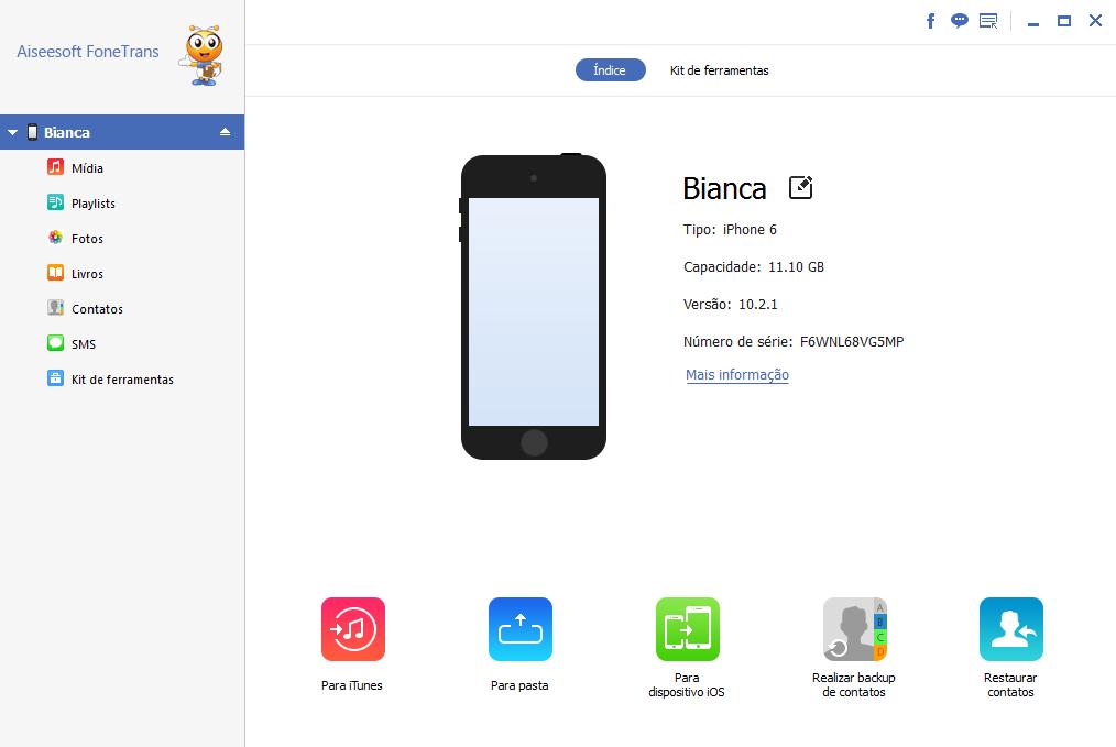 Fazer backup iphone hd externo com Aiseesoft FoneTrans
