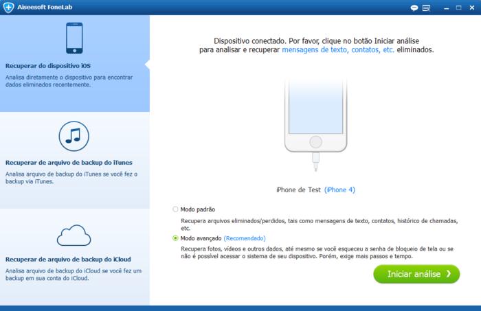 interface FoneLab software para resetar iPhone sem botões