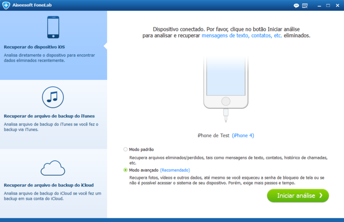 Recuperar mensagens Facebook Messenger com Aiseesoft FoneLab
