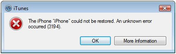Corregir error 3194 iTunes - FoneLab
