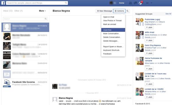 Mensagens arquivadas Facebook