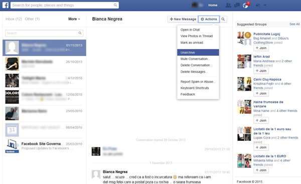 Mensajes archivados Facebook