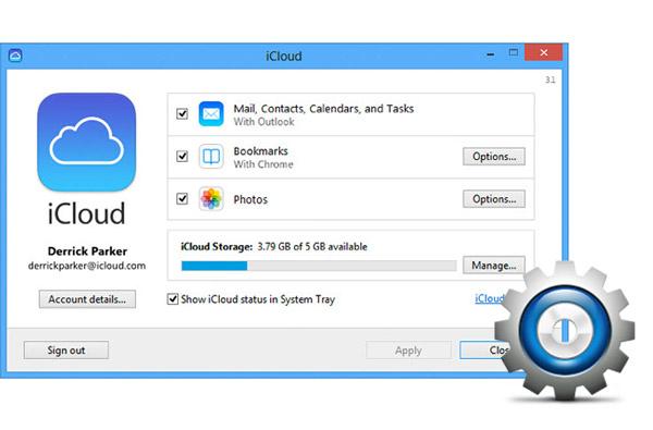 Painel de Controle iCloud Windows FoneTrans