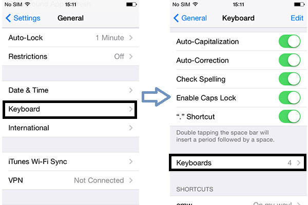 Pasos 3 y 4 Habilitar teclado emoji iPhone