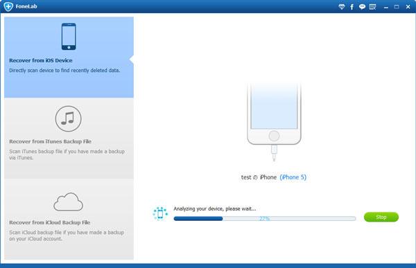 Recuperar do dispositivo iOS com FoneLab Backup Mensagens Whatsapp