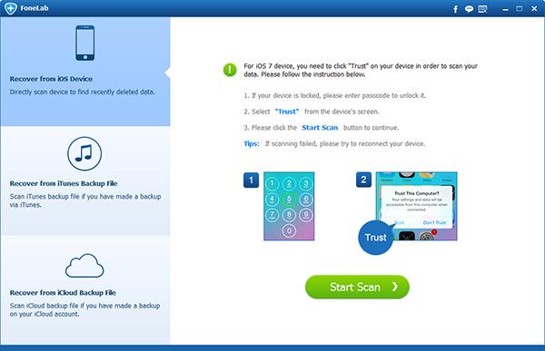 Passo2 Recuperar notas iPhone FoneLab