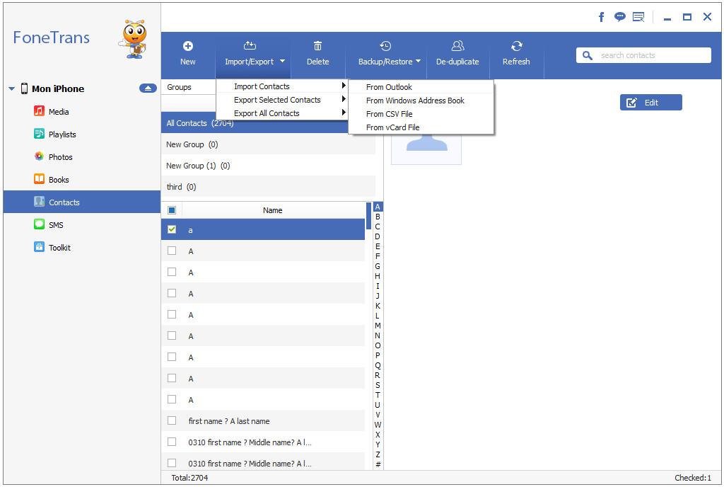 Sincronizar Contatos Outlook iPhone FoneTrans