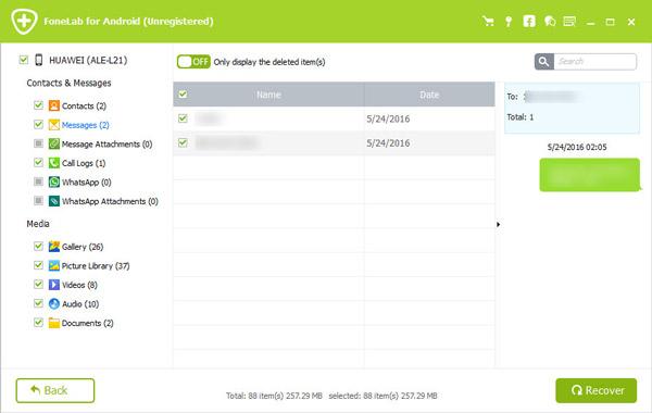 Passo 3 Recuperar mensagens Snapchat FoneLab Android