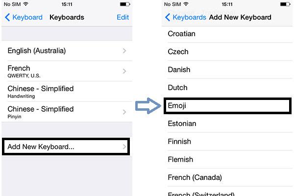 Passos 5 e 6 Habilitar teclado emoji iPhone