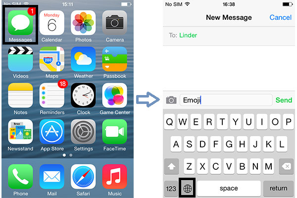Passos 1 e 2 Usar teclado emoji iPhone
