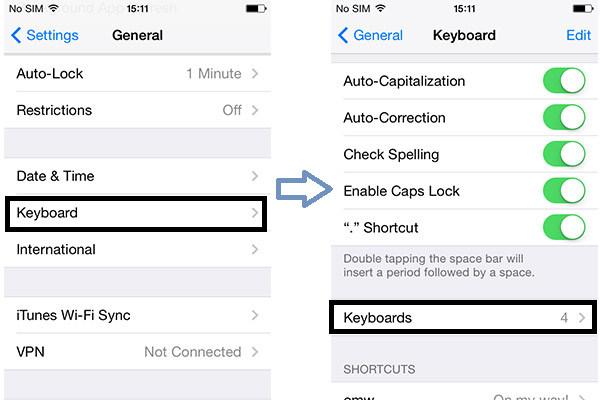 Passos 3 e 4 Habilitar teclado emoji iPhone