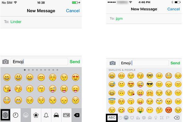 Passos 3 e 4 Usar teclado emoji iPhone