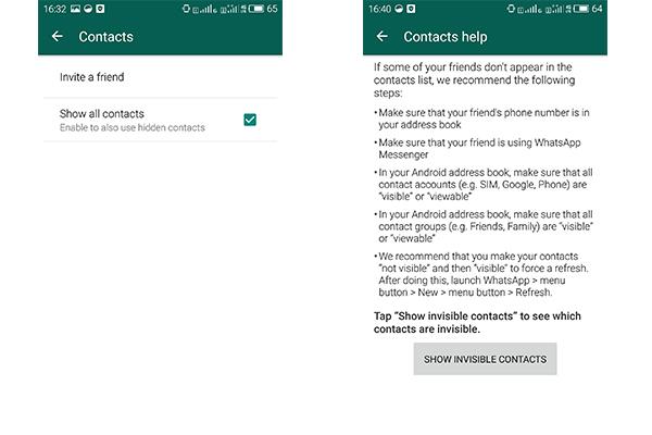 Contatos WhatsApp não aparecem Android FoneTrans