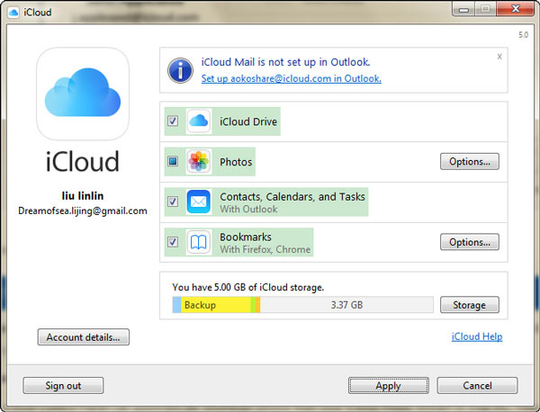 Tipos de Dados iCloud Windows FoneTrans
