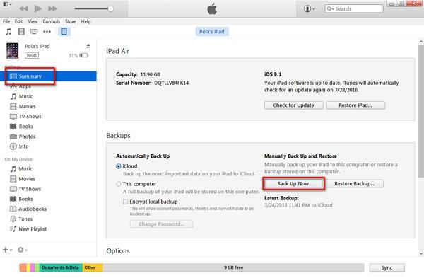 Backup iPad modo de recuperação