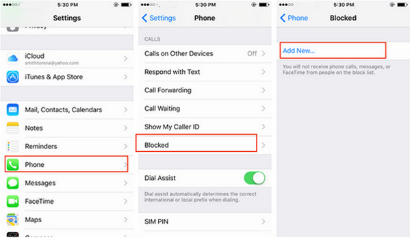 Bloquear chamadas iPhone método 2