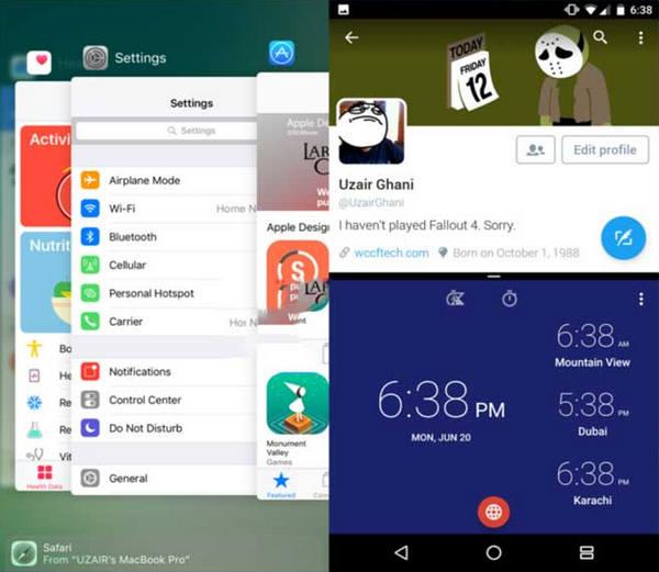 Comparação modo várias janelas iOS 10 vs. Android N