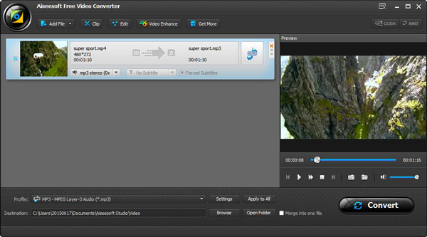 Convertir MP4 a MP3 con Aiseesoft Video Converter