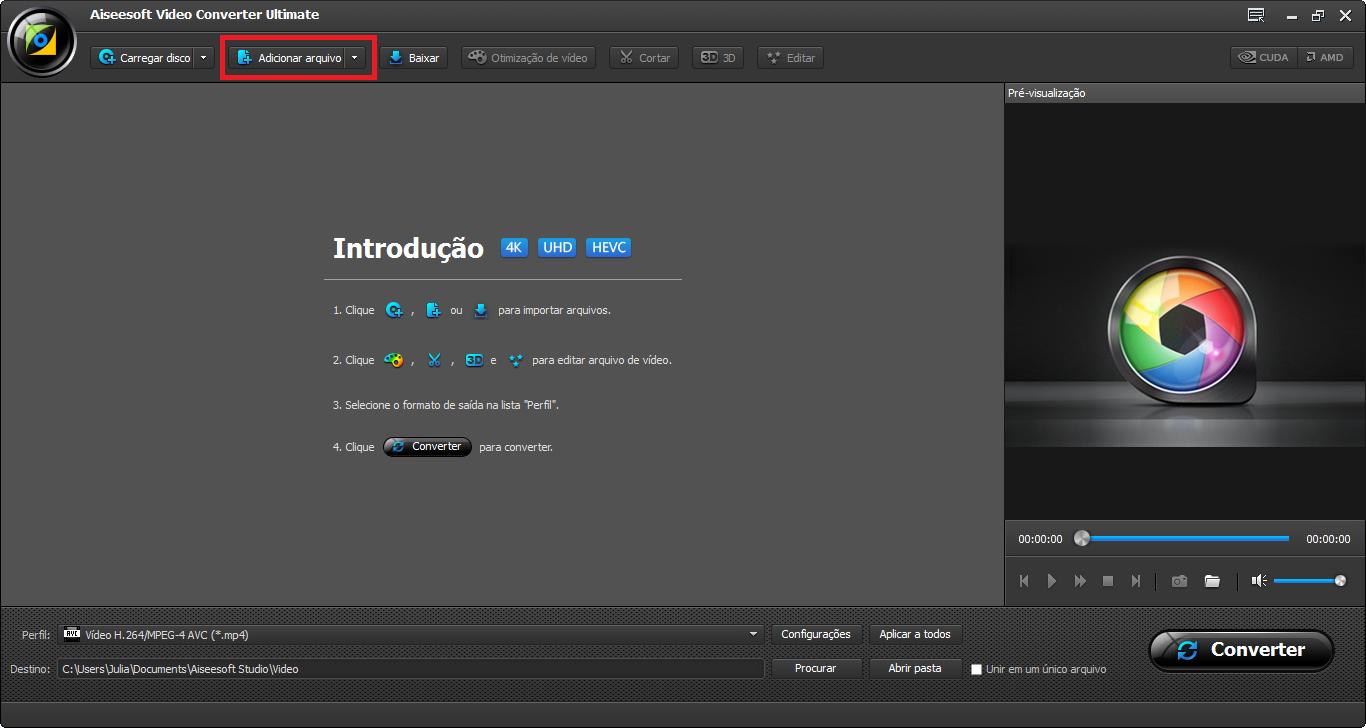 Abrir el Video Converter Ultimate e importar los archivos para el programa