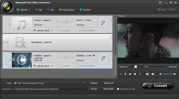 Criar ringtones iPhone - Aiseesoft Video Converter