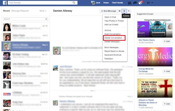 Excluir conversa inteira página Facebook