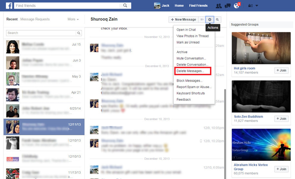 Excluir mensagem Facebook a partir da página