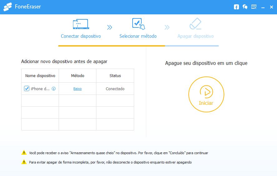 FoneEraser excluir dados iPhone