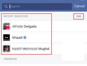 Limpar histórico Facebook aplicativo iPhone Passo 2