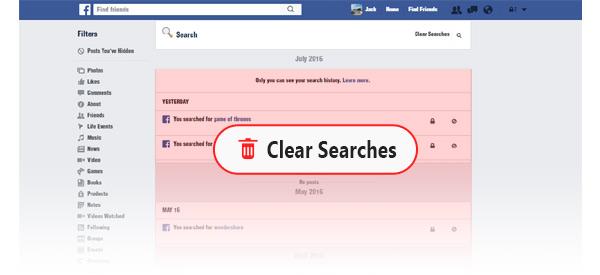 Limpar histórico mensagens Facebook