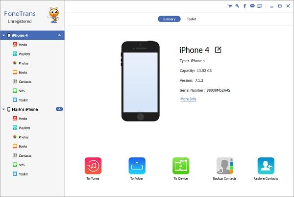Paso 1 Pasar contactos iPhone a otro FoneTrans
