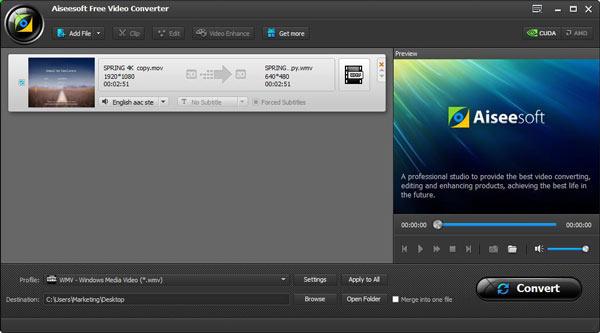 Passo 1 Converter Vídeo MOV para WMV