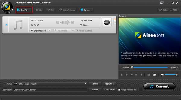Passo 2 Converter áudio WMA para MP3