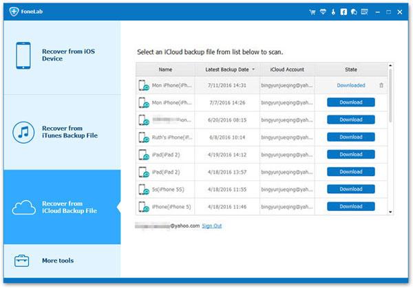 Restaurar backup icloud Aiseesoft FoneLab passo 2
