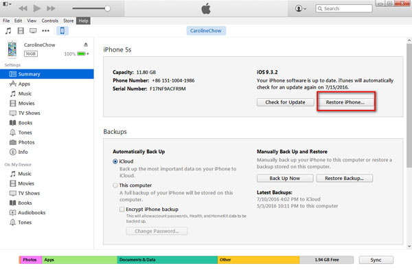 Resetar senha restrições iPhone - iTunes