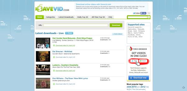 Sitio descargar videos Savevid