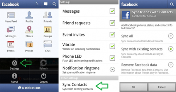 sync facebook contacts iphone sincronizar contactos en el android iphone 9475