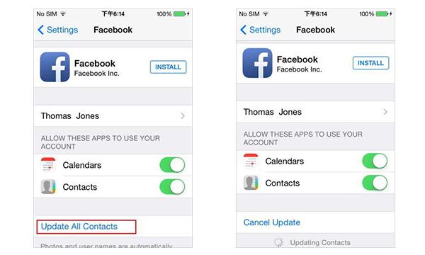 Actualizar contactos iphone paso 2