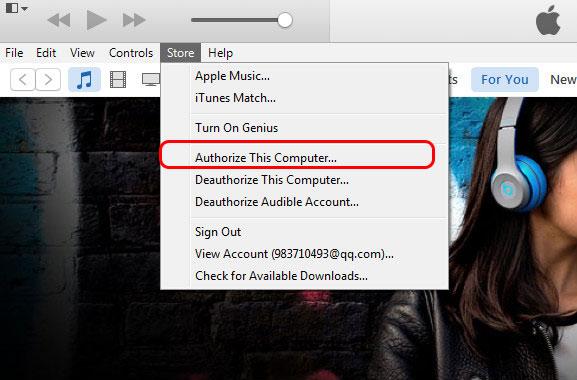 Autorizar computador iTunes