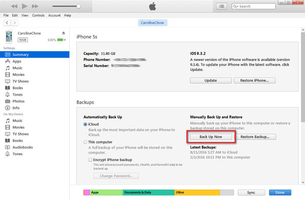 Backup computador iTunes passo 2