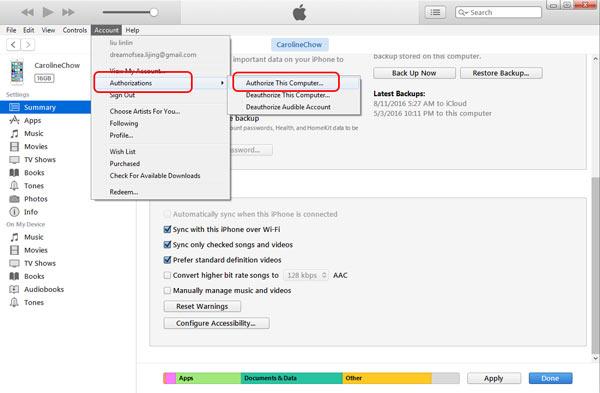 Backup computador iTunes passo 4