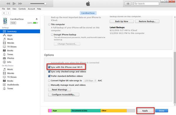 Backup iPhone Wi-Fi passo 5