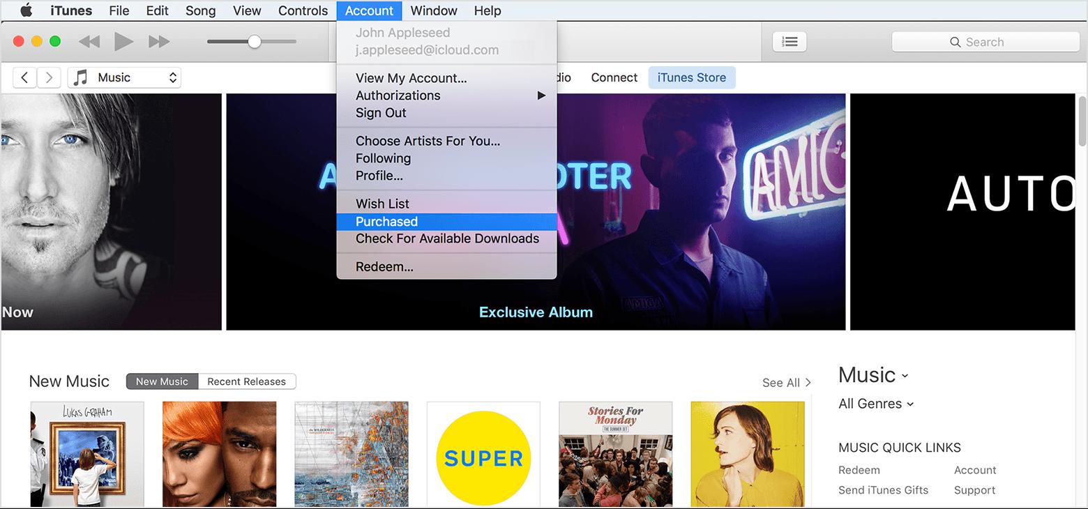 Baixar novamente músicas compradas iTunes