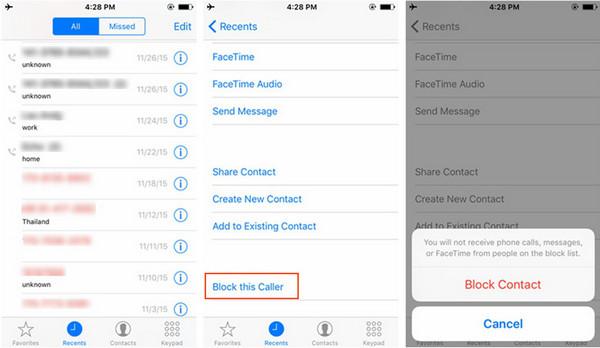 Bloquear llamadas iPhone método 1