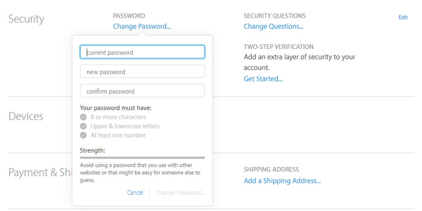 Cambiar contraseña ID Apple paso 2